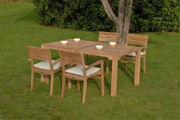 Bilde av Figaro sett 4 stabelbare stoler+bord 160x95 cm - teak