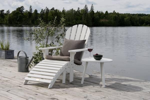 Bilde av Tennessee sett adirondack stol m/fothviler+bord - hvit